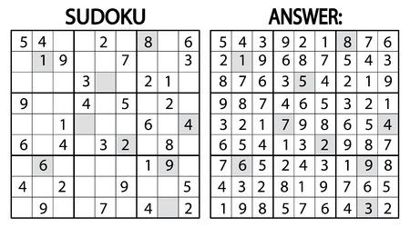스도쿠 퍼즐 게임. 숫자 스도쿠 퍼즐 게임. 성인을위한 교육 아이들을위한 게임이나 레저 게임으로 사용할 수 있습니다