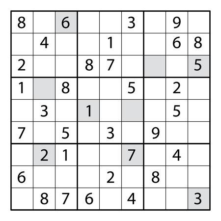 스도쿠 퍼즐 게임. 숫자와 스도쿠 퍼즐 게임. 어린이를위한 교육용 게임이나 성인용 레저 게임으로 사용할 수 있습니다. 일러스트