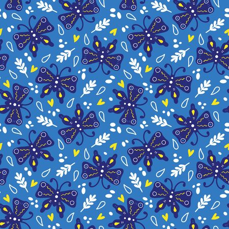 butterflies seamless pattern. seamless pattern with cute butterflies for wallpapers, scrapbooking, web page backgrounds Illustration