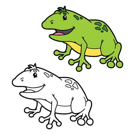 Funny Frog Coloring Page . Illustration Coloring Page With Happy ...