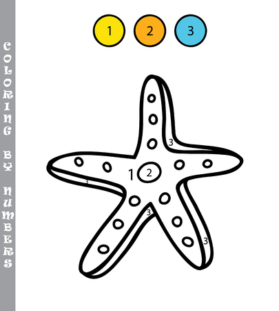 summer holidays: funny coloring by numbers educational kids game. illustration coloring by numbers educational game with cartoon starfish for kids Illustration