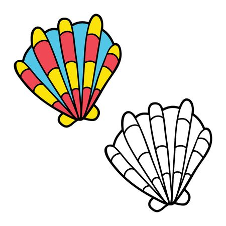 scrap book: simple educational kids coloring page. illustration of educational kids coloring page with cartoon shell for children, coloring and scrap book