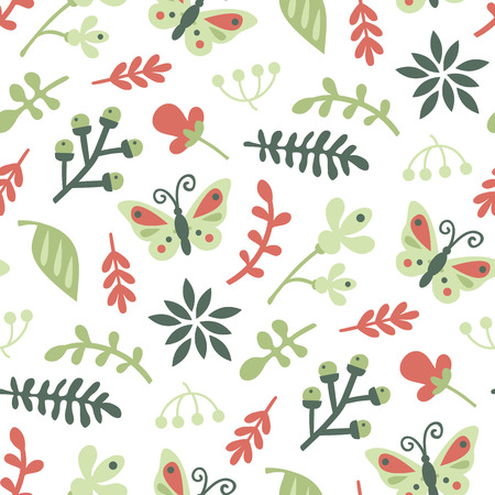 doodle floral pattern. Seamless vector doodle hand drawn pattern with flowers, brunches, leaves for wallpapers, scrapbooking, web page backgrounds, textile