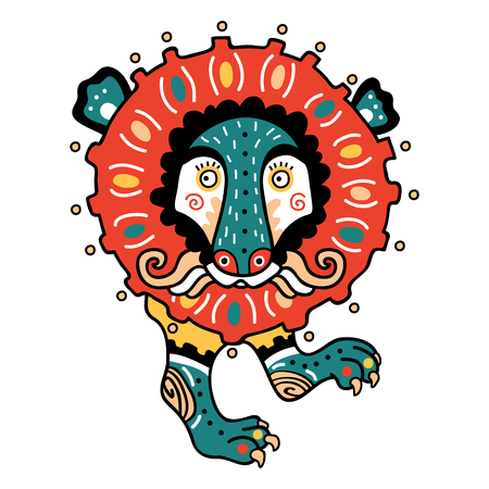primitivism: Abstract lion coloring page. Vector illustration of cute ornate abstract lion in Ukrainian style primitivism