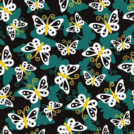 Vector Seamless Pattern With Cute Butterflies For Wallpapers