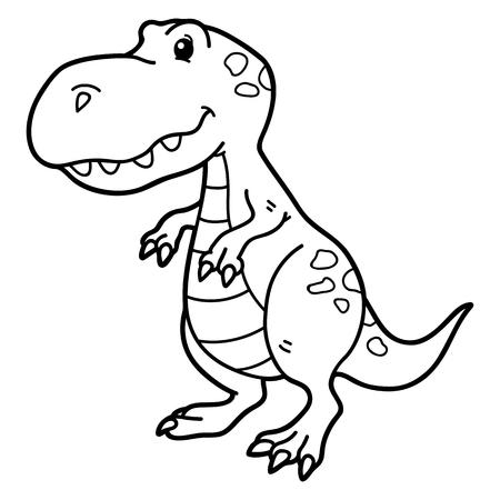 scrap book: Vector illustration of cute cartoon dinosaur character for children, coloring and scrap book Illustration