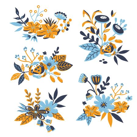 vector set of pre-made bouquets with doodle hand drawn elements: branches, flowers, leaves, berries