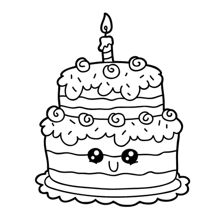 Vector Illustration Of Cute Cartoon Birthday Cake Character For Children Coloring
