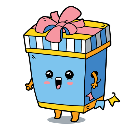 scrap book: Vector illustration of cute cartoon gift box character for children and scrap book