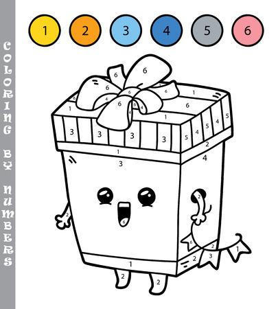 Ilustración Vectorial Para Colorear Por Números Juego Educativo Con Caja De Regalo De Dibujos Animados Para Los Niños