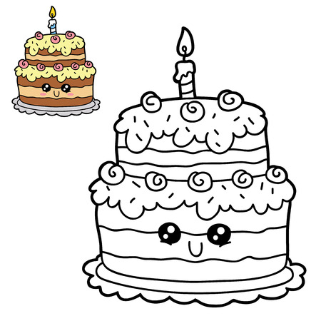scrap book: Vector illustration coloring page of happy cartoon birthday cake for children, coloring and scrap book