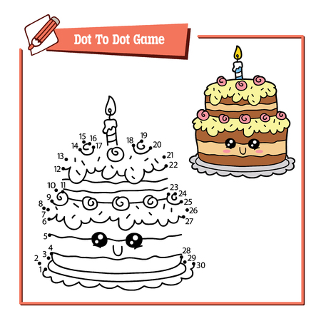 Vector illustration of dot to dot educational puzzle game with happy cartoon birthday cake for children