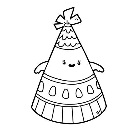 Vector Ilustración De La Página Para Colorear Sombrero De Dibujos ...