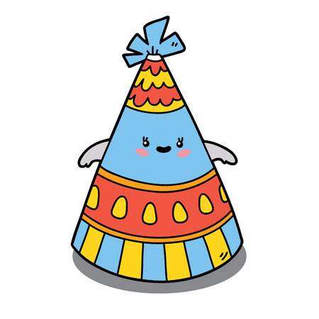 scrap book: Vector illustration of cute cartoon party hat character for children and scrap book