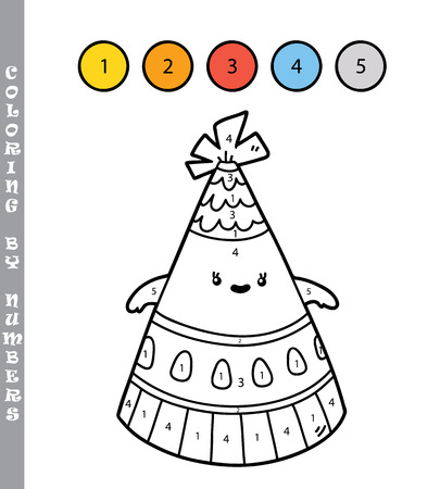 Vector illustration coloring by numbers educational game with cartoon party hat for kids