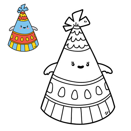 scrap book: Vector illustration coloring page of happy cartoon party hat for children, coloring and scrap book
