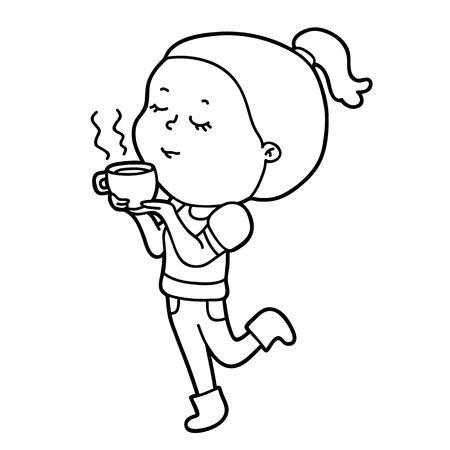 Ilustración Vectorial De Personaje Lindo Niña De Dibujos Animados ...