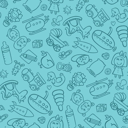 toys seamless pattern. vector seamless pattern for baby shower, fabric, background with doodle toys Illustration