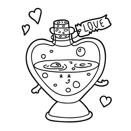 elixir: Ilustración del vector del amor personaje lindo elixir para los niños, para colorear