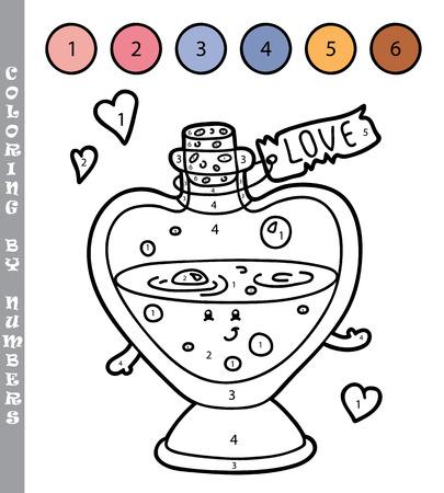 elixir: ilustración vectorial para colorear por números juego educativo con la historieta elixir de amor para los niños