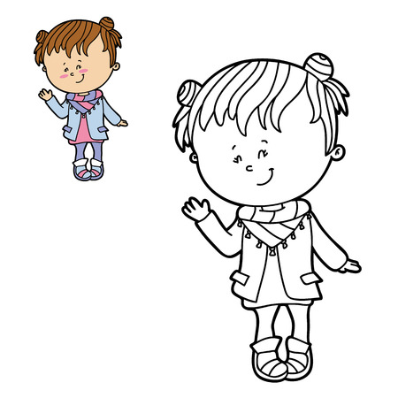 scrap book: Vector illustration coloring page of happy cartoon girl for children, coloring and scrap book