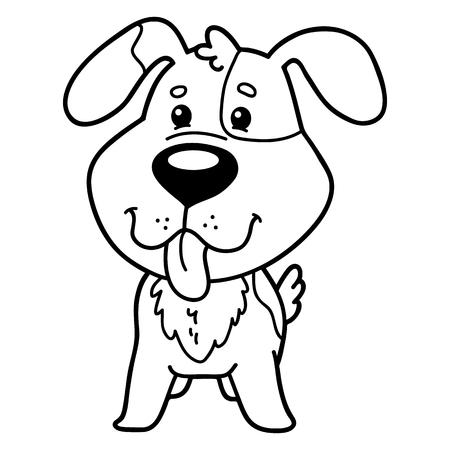 벡터 일러스트 레이 션 귀여운 만화 강아지 캐릭터의 어린이위한 색칠 페이지 일러스트