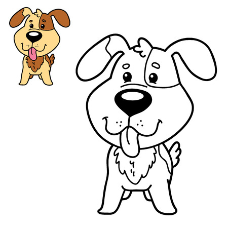 scrap book: Vector illustration coloring page of happy cartoon dog for children, coloring and scrap book Illustration