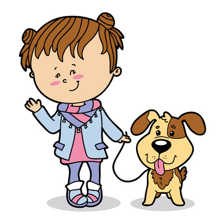 Vector illustration of cute cartoon girl and dog character for children and scrap book Illustration