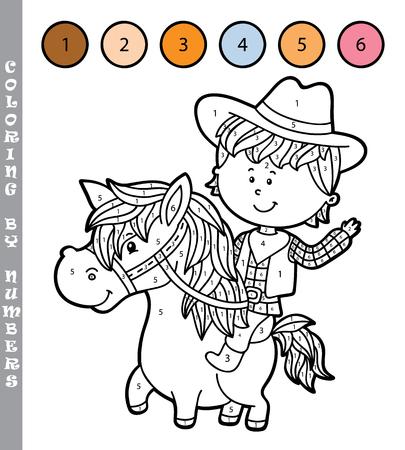 Vektor-Illustration Färbung Durch Zahlen Lernspiel Mit Comic ...
