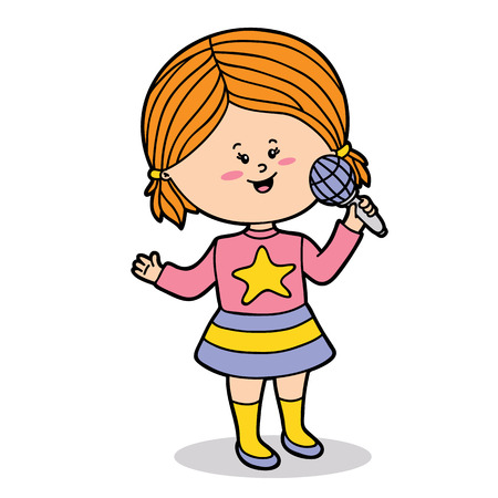 Vector illustration of cute cartoon girl character for children and scrap book