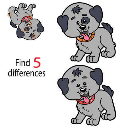 illustrazione vettoriale di bambini puzzle gioco educativo di trovare 5 differenze per i bambini in età prescolare Vettoriali