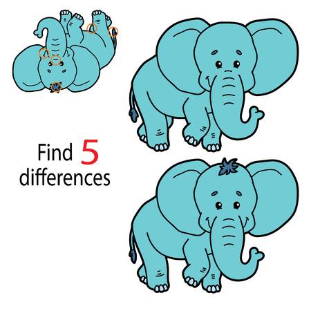 벡터 일러스트 레이 션의 아이 퍼즐 교육 게임 취학 전 어린이를위한 5 가지 차이 찾기 일러스트