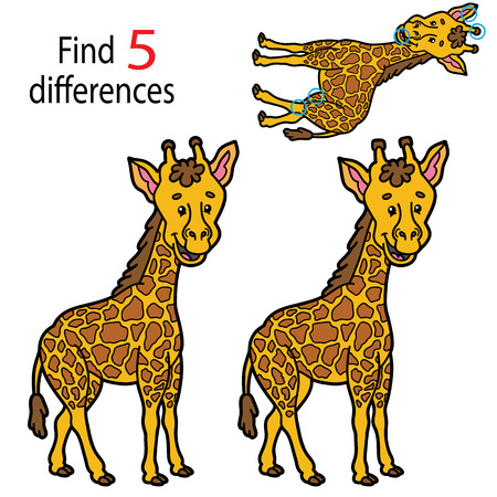 Vector illustration of kids puzzle educational game Find 5 differences for preschool children Illustration