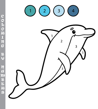 Illustration coloring by numbers educational game with cartoon dolphin for kids Illustration