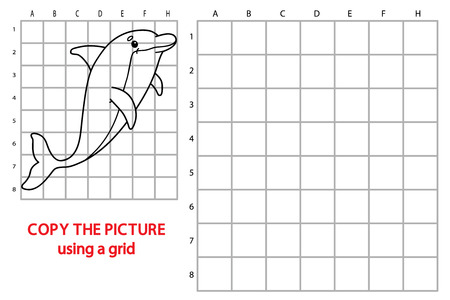 brainteaser: Vector illustration of grid copy puzzle with happy cartoon dolphin for children