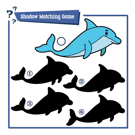 Illustration of shadow matching game with cartoon dolphin for children
