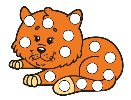 Vector digital educational game for toddlers: plasticine patches or dot marker pages to develop fine motor skills