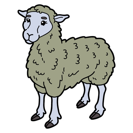scrap book: Vector illustration of cute cartoon sheep character for children and scrap book