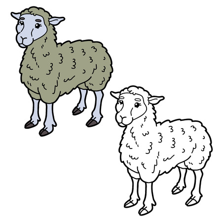 Vector illustration coloring page of happy cartoon sheep for children, coloring and scrap book Stock Vector - 81233253