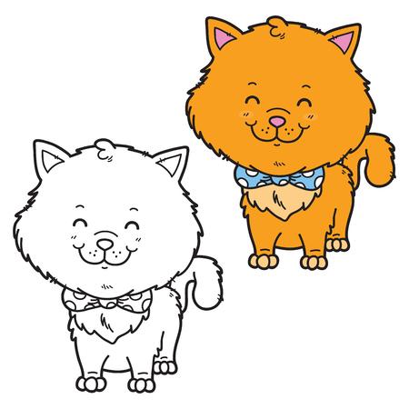 Lustige Katze. Vektor-Illustration Malvorlagen Glücklich Cartoon ...
