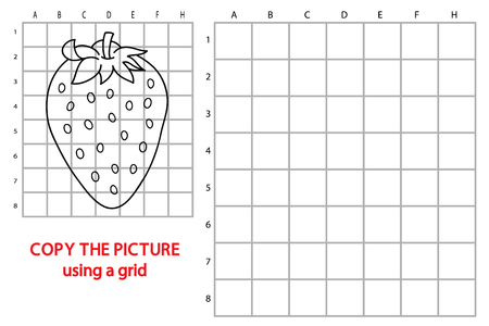 Vector illustration of educational grid copy puzzle with cartoon strawberry for children