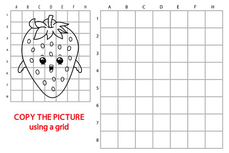 Illustration of educational grid copy puzzle with cartoon strawberry for children.