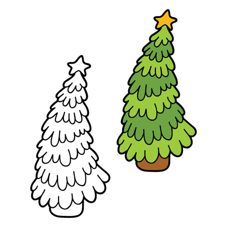 children painting: Vector illustration coloring page of cartoon christmas tree for children, coloring and scrap book