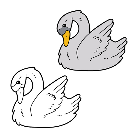 Vector illustration coloring page of cartoon swan character for children, coloring and scrap book Ilustrace