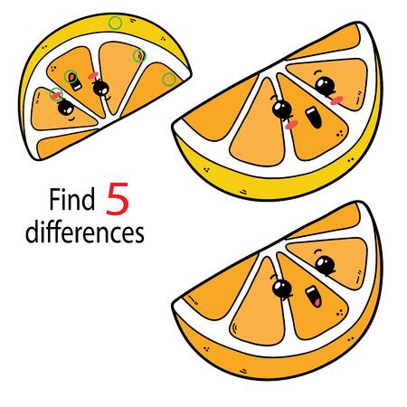 만화 레몬 캐릭터를 가진 미취학 아동을위한 5 가지 차이점을 찾으십시오.