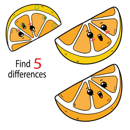 Find 5 differences for preschool children with cartoon lemon character. Illustration