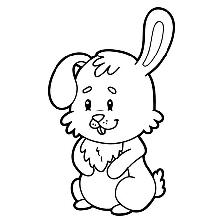 Easter bunny character for children, coloring page.