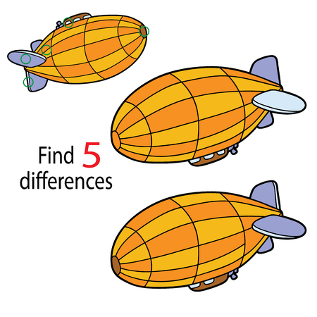Zeppelin in isolated background. Illustration of kids puzzle educational game. Find 5 differences for preschool children with cartoon airship Vectores
