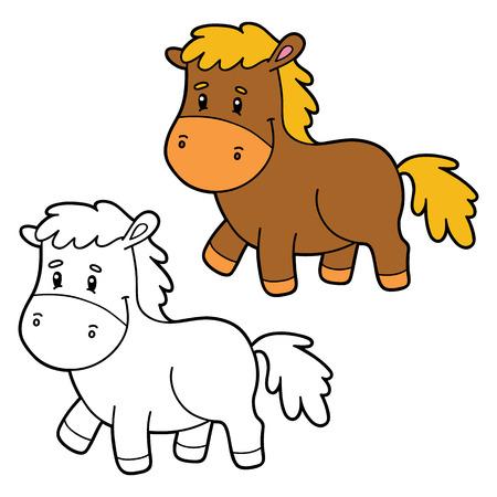 ベクトル図子ども・着色・ スクラップ ブックの漫画のキャラクターのページを着色  イラスト・ベクター素材