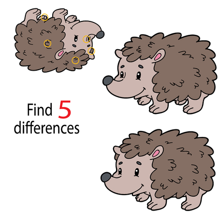 Illustration of hedgehog in isolated background. Kids puzzle educational game Finding 5 differences  for preschool children